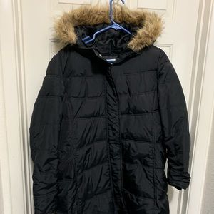 Old navy black winter faux fur hood jacket